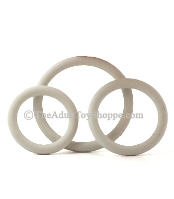 3 Rubber Cock Rings - White