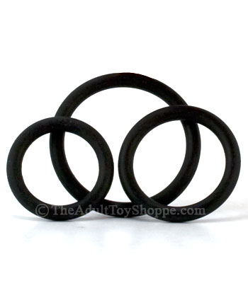 3 Rubber Cock Rings - Black