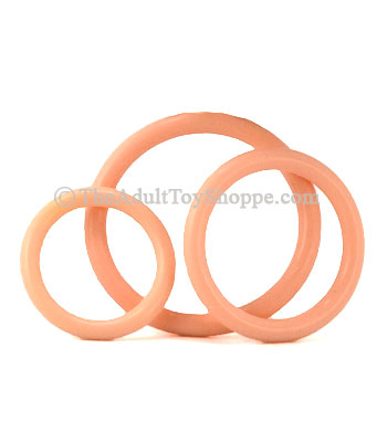 3 Rubber Cock Rings - Natural